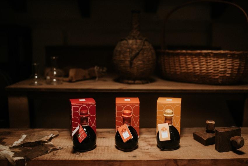 3 ampolle di aceto balsamico con le 3 confezioni de Il Borgo del Balsamico